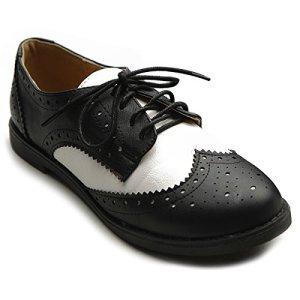 Ollio Women's Flat Shoe Wingtip Lace Up Two Tone Oxford