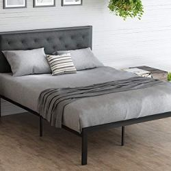 Amolife Queen Bed Frame/Metal Platform Bed Frame with Tufted Diamond Stitched Fabric Headboard/Strong Steal Slats Support/No Box Spring Needed/Mattress Foundation/Easy Assembly, Dark Grey