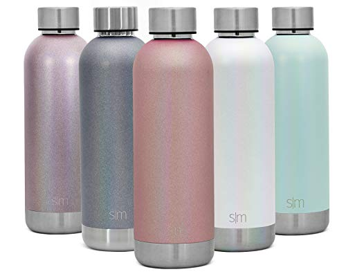 Simple Modern 17oz Bolt Sports Water Bottle - Stainless Steel - Double Wall Vacuum Insulated - Leak Proof Bottle Shimmer: Rose Quartz