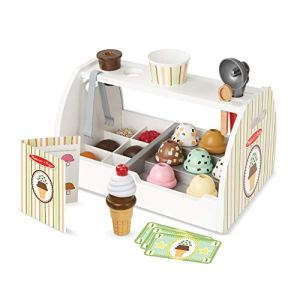 Melissa & Doug Wooden Scoop & Serve Ice Cream Counter (Play Food and Accessories, 28 Pieces, Realistic Scooper, 34.544 cm H x 21.844 cm W x 19.558 cm L) 41K91hyYHYL