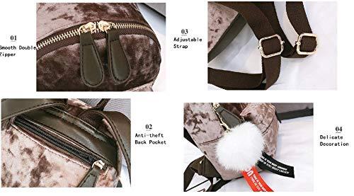 41KBKfPTN%2BL - MOCA Cute Mini Small Women Backpacks Womens Kids Girls Soft Velvet Stylish Trendy Travel Outdoor College Bags Small Mini Rucksack Backpack Back Bag Pack bagpack for Womens Girls