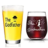 JERIO Godparent Gifts Godmother Wine Glass Godfather Beer Glass Gifts for Godparents