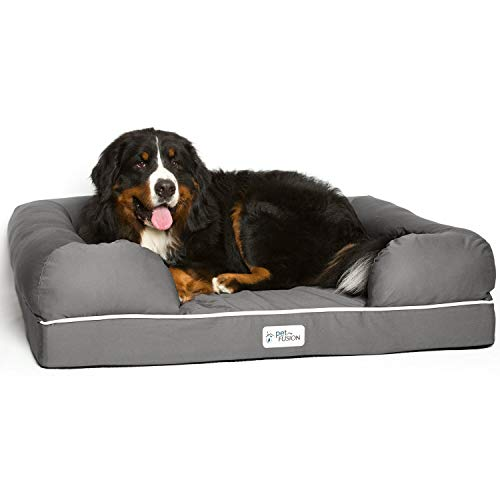 PetFusion Extra Large Dog Bed w/Solid 4' Memory Foam, Waterproof Liner, YKK...