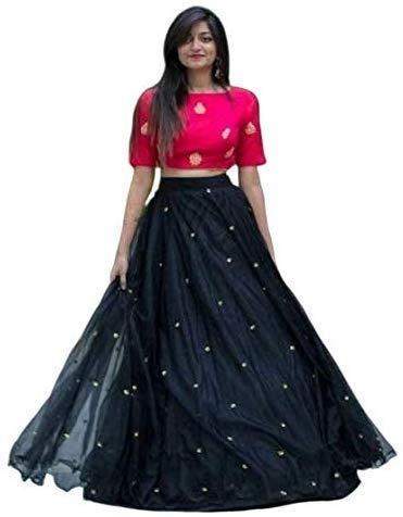 NENA FASHION Women's net Lehenga Choli (Yami pinkblack_Black_X-Large)
