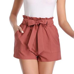 Aprance Paper Bag Shorts for Women High Waisted Tie Casual Summer Shorts with Pockets 21 Fashion Online Shop gifts for her gifts for him womens full figure