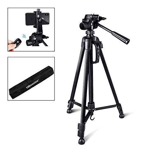 UBeesize Camera Tripod, 55-Inch Lightweight Aluminum Travel Tripod Stand for Canon Nikon Sony DSLR Digital Olympus Video Camera with Universal Smartphone Mount & Carry Bag & Bluetooth Remote