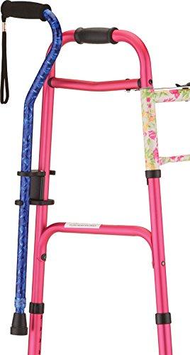 NOVA Medical Cane Holder for Rollator and Folding Walker, Walking Cane Attachment for Walker, Snap-On Design