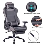 Blue Whale Massage Gaming Chair with Footrest Matel Base-Memory Foam Adjustable Backrest Reclining PC Computer Video Gamer Chair Racing High Back Game Chairs PU Leather Desk Office Chair BW/263 Grey