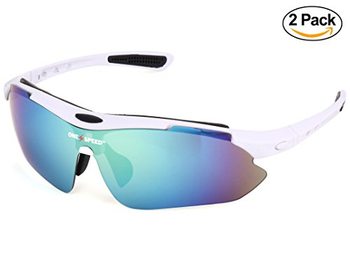 Polarized Sunglasses for Men & Women - Sport Sunglasses (BONUS: Value 2 Pack) - Best Cycling Sunglasses | Running Sunglasses | Golf Sunglasses - Up Your Game with OneSpeed Sports Sunglasses (White)