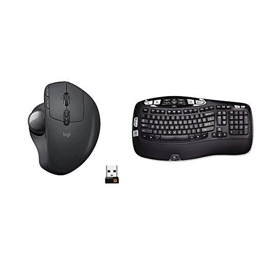 Logitech-MX-Ergo-Wireless-Trackball-Mouse--Adjustable-Ergonomic-Design-Bluetooth-or-USB-Graphite-K350-24Ghz-Wireless-Keyboard