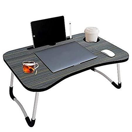 DIVYA FAB Multipurpose Foldable Laptop Table with Cup Holder, Study Table, Bed Table, Breakfast Table, Foldable and Portable/Ergonomic & Rounded Edges/Non-Slip Legs