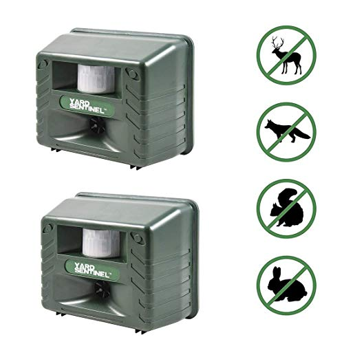 Aspectek Yard Sentinel 2 Pack Outdoor Ultrasonic Animal Control Pest Repeller - Includes AC Adapter, Extension Cord