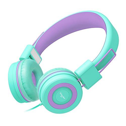 Elecder i37 Kids Headphones Children Girls Boys Teens Foldable Adjustable On Ear Headphones 3.5mm Jack Compatible iPad Cellphones Computer MP3/4 Kindle Airplane School Tablet Purple/Green
