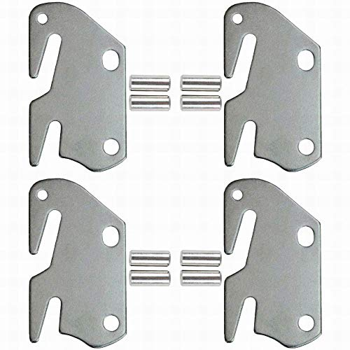 #10 Hook Plates for Wooden Beds Frame Bracket Headboard Footboard with Pin Replacement Wooden Bed Parts or New Bed Constructions - Set of 4