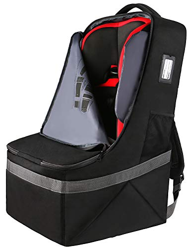 Car Seat Travel Bag,Airport Gate Check Bag for Carseat,Carseat Carrier Backpack,Durable Water Resistant Infant Seat Travel Bag w/Adjustable Padded Shoulder Straps,Universal Size Carseat Cover