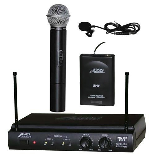 Audio2000 AWM-6032UL UHF Dual Channel Wireless Microphone System with One Handheld & One Lapel (Lavalier) Mic