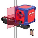 WORKPRO Self-Leveling Cross Line Laser with Clamp Range up to 30 Feet,Level Self-Leveling Horizontal and Vertical Cross-Line Laser