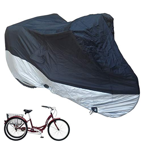 Formosa Covers Adult Tricycle Cover fits Schwinn, Westport and Meridian - Protect Your Bike from Rain, Dust, Debris, and Sun when Storing Outside or Inside - Black ss400 75' L x 30' W x 44' H