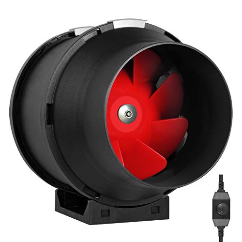 6' Inline Fan - 395 CFM Exhaust Duct Fan, Built-in Speed Controller, ETL Listed, Pre-Wired 6 FT Grounded Cord - Great Use in Grow Tent with Carbon Filters, Light Fixtures, Intake. Fits 6 Inch Ducts.