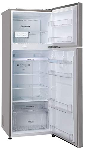 41KmSee jYL LG 335 L 3 Star Inverter Frost-Free Double Door Refrigerator (GL-T372JDS3, Dazzle Steel, Convertible)