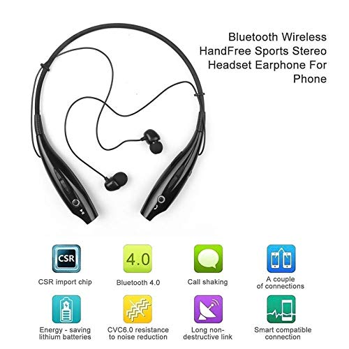 Auli HBS 730 Wireless Neckband Bluetooth Earphone Headset Earbud Portable Headphone Handsfree Sports Running Sweatproof Compatible Android Smartphone Noise Cancellation - (Black)