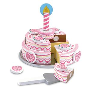 Melissa & Doug Triple-Layer Party Cake (Wooden Play Food, Tiered Wooden Cake, Self-Sticking Tabs, Sturdy Construction, 34.29 cm H x 26.67 cm W x 6.858 cm L) 41Kn6rmK5SL