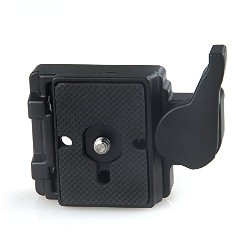 Konsait Black Camera 323 Quick Release Plate with Special Adapter (200PL-14) Use for Manfrotto 323 (New Version)