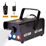 Fog Machine,GECKO Smoke Machine hood portable LED light with wired and wireless remote control, fast heating, suitable for parties, Christmas, Halloween and wedding
