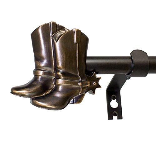Cowboy Boots Double Curtain Rod Set