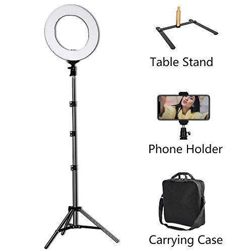 LED Ring Light – 14inch 3200K/5600K Bicolor Dimmable Lighting Kit with 70 inch Light Stand & Table Top Stand, Superbright & Durable, Adjustable Angle and Easy Assembly for Studio Video Selfie Youtube