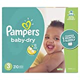 Diapers Size 3, 210 Count - Pampers Baby Dry Disposable Baby Diapers, ONE MONTH SUPPLY (Packaging May Vary)
