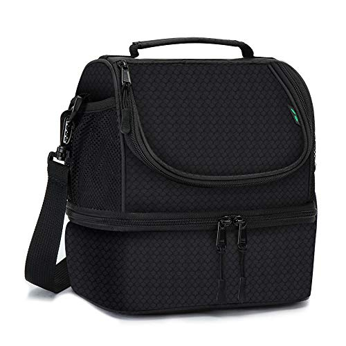 Dual Compartment Insulated lunch Bag, Double Deck Reusable Insulated Lunch Tote Bag for Adult with Removable Divider for Work,Office,School,Picnic,Camping(6 Cans)