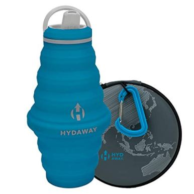 HYDAWAY-Hydration-Travel-Pack-25oz-Collapsible-Water-Bottle-with-Spout-Lid-and-Compact-Travel-Case-with-Carry-Clip-Bluebird