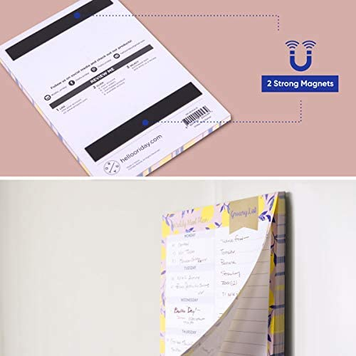 """Oriday Weekly Magnetic Meal Planner Notepad with Tear Off Perforated Grocery Shopping List Checklist for Fridge Door, Kitchen - 52 Sheets, 6"""" X 9"""" - Perfect for Weekly Diet Prep (Menu Planning Pad) 6"""