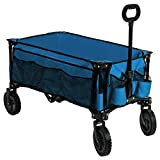 Timber Ridge Camping Wagon Folding Garden Cart Shopping Trolley Collapsible Heavy Duty Utility Use, Side Bag, Blue