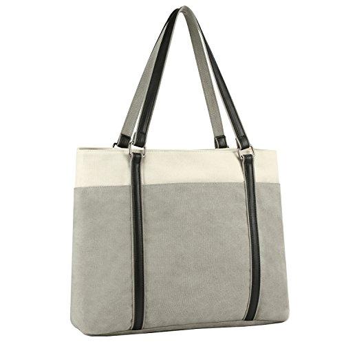 Plambag Women's Laptop Tote Bag, Canvas 15.6' Computer Work Office Handbag(Gray)