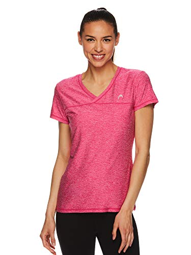 HEAD Women's High Jump Short Sleeve Workout T-Shirt - Performance V-Neck Activewear Top 1 Fashion Online Shop Gifts for her Gifts for him womens full figure