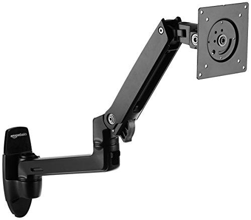 AmazonBasics Premium Wall Mount Computer Monitor and TV Stand - Lift Engine Arm Mount, Aluminum