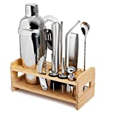 Complete Bartender Kit w/Cocktail Shaker & Bar Accessories - 13 Piece Mixology Bar Set - Includes Twisted Spoon, Muddler, Ice Tongs, Wine Opener, Other Bar Tools - Unlimited Drink Mixing Options