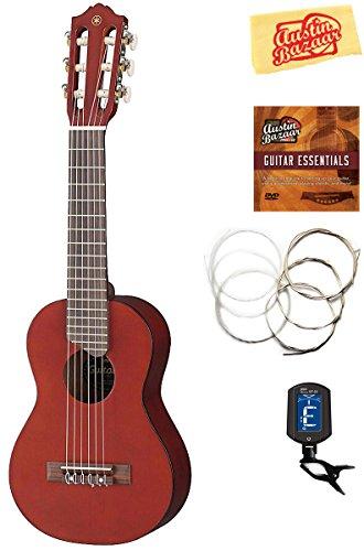 Yamaha GL1 Guitalele Guitar Ukulele - Persimmon Brown Bundle with Gig Bag, Tuner, Strings, Austin Bazaar Instructional DVD, and Polishing Cloth