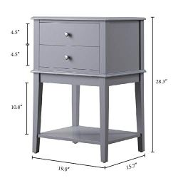 Coniffer Grey Nightstand, Modern End Table Night Stand with Drawer and Storage Shelf Wood Side Table (Grey)