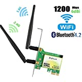 WiFi Card AC1200Mbps Wireless WiFi Card,Wireless PCI Express Adapter,802.11 AC Dual-Band 1167Mbps(5Ghz-867Mbps/2.4Ghz-300Mbps) Network Card with Bluetooth 4.2,PCIe Wi-Fi Adapter for PC (WIE 8260)