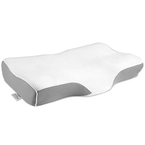 Wonwo Memory Foam Pillow, Orthopedic Pillow, Cervical Contour Massage Bed Pillows for Sleeping, Neck Support Pillow for Neck Pain with Washable Breathable Pillow Case