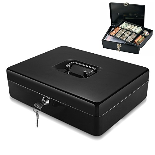 Flexzion Cash Box with Money Tray Coin Slot, Security Lock Box with Removable 9 Compartment Tray Steel Construction Cashier Drawer Money Safe Storage for Currency Bill Check Jewelry, Small Portable