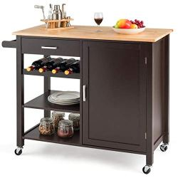 Giantex Kitchen Island Cart Rolling Serving Cart Wood Trolley with Drawer, Storage Cabinet, Wine Bottle Rack, Towel Rack and Lockable Wheels (Brown)