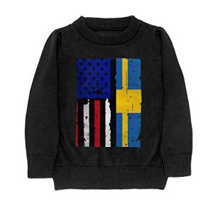 HJKNF58Q Swedish American USA Flag Pride Sweater Youth Kids Funny Crew Neck Pullover Sweatshirt