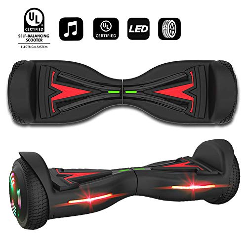 """VEEKO Hoverboard UL 2272 Certified 6.5"""" Two-Wheel Self Balancing Electric Scooter with LED Light Flash Lights Wheels for Adult Kids Gift (Black-65TSL)"""