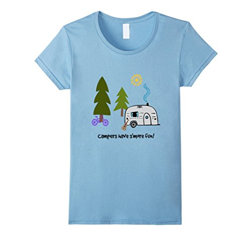 Women's Campers Have S'More Fun Tshirt - Camping RVing Tenting XL Baby Blue