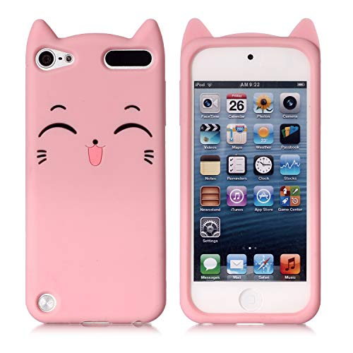iPod Touch 5 Case, iPod Touch 6 Case, Fashion Cute 3D Pink Meow Party Cat Kitty Kids Girls Lady Protective Cases Soft Case Skin for Apple iPod Touch 6th and iPod Touch 5