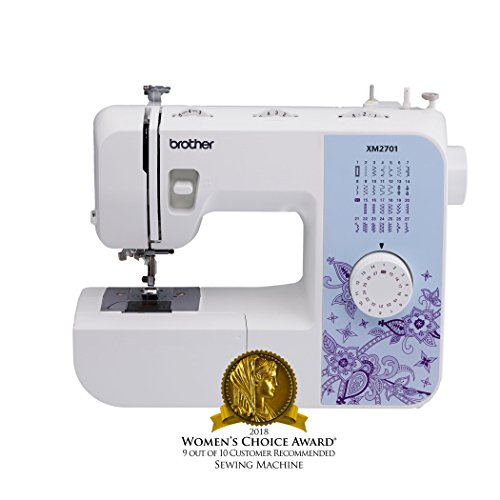 Brother Sewing Machine, XM2701, Lightweight Sewing Machine with 27 Stitches, 1-Step Auto-Size Buttonholer, 6 Sewing Feet, Free Arm and Instructional DVD